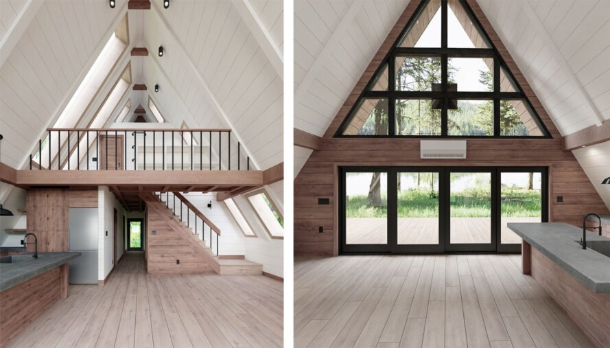 cabin interior with wood floors, white walls and pitched ceilings