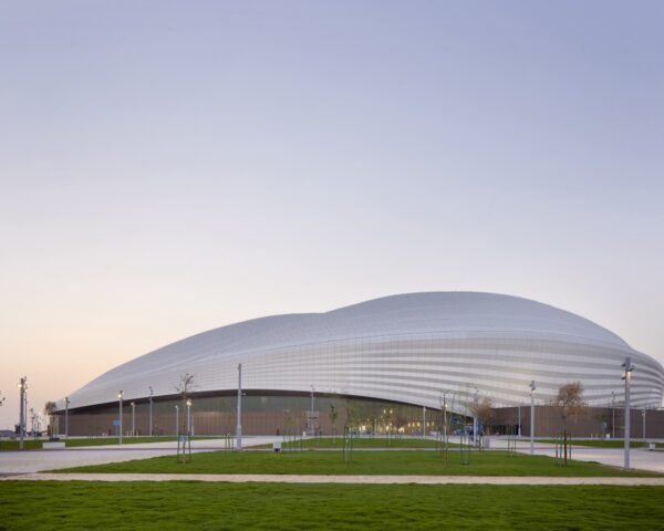 sport stadium with curvy white roof
