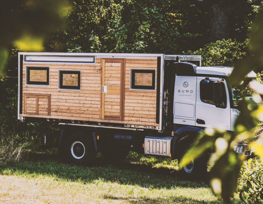 rectangular motorhome with wood cladding