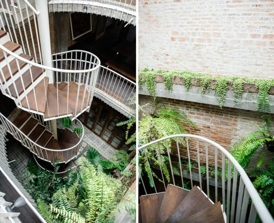 courtyard with spiral staircase