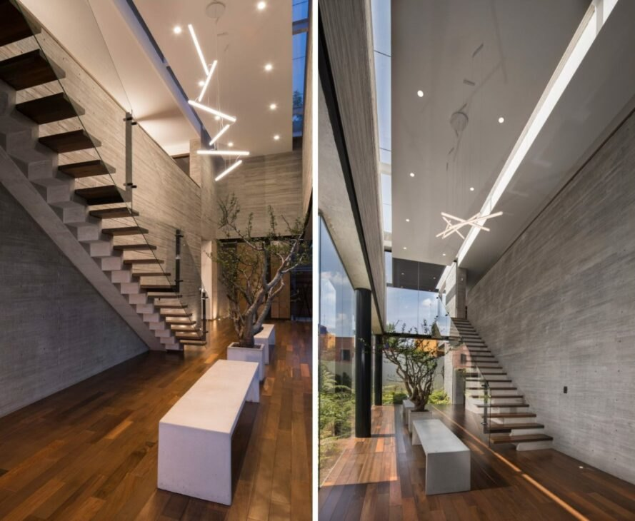 interior of home with recessed lighting and floating steps