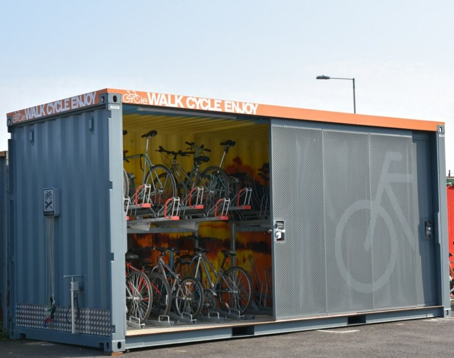 Shipping container bike storage
