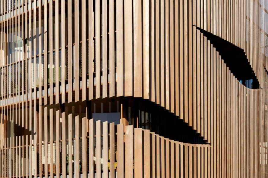 close-up of opening in timber slats
