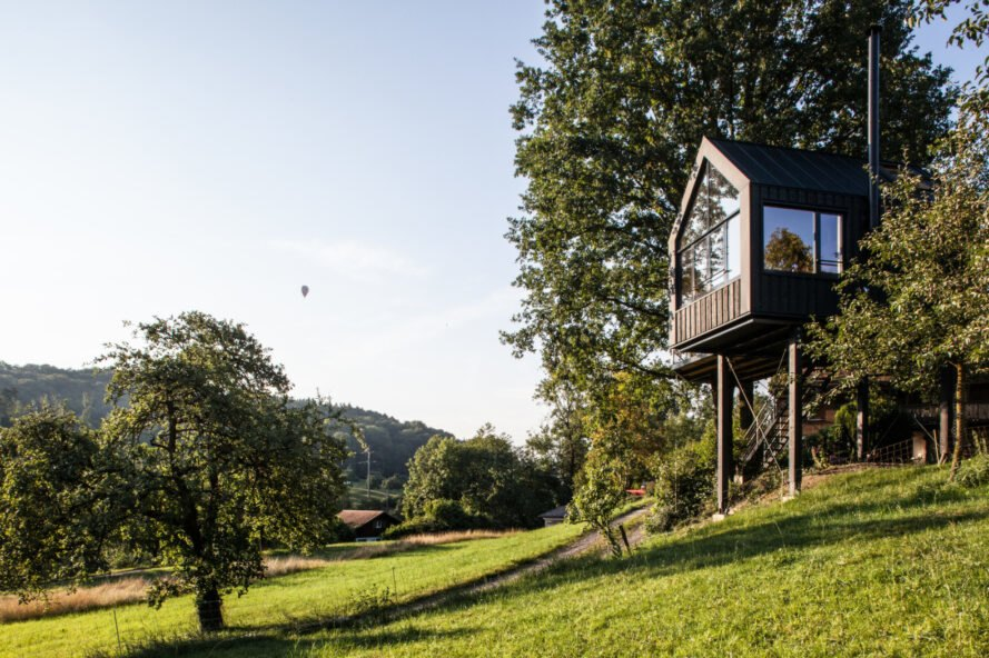 black gabled treehouse