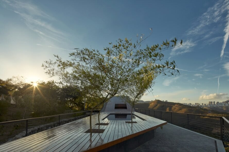 rooftop with a rectangular pool and trees