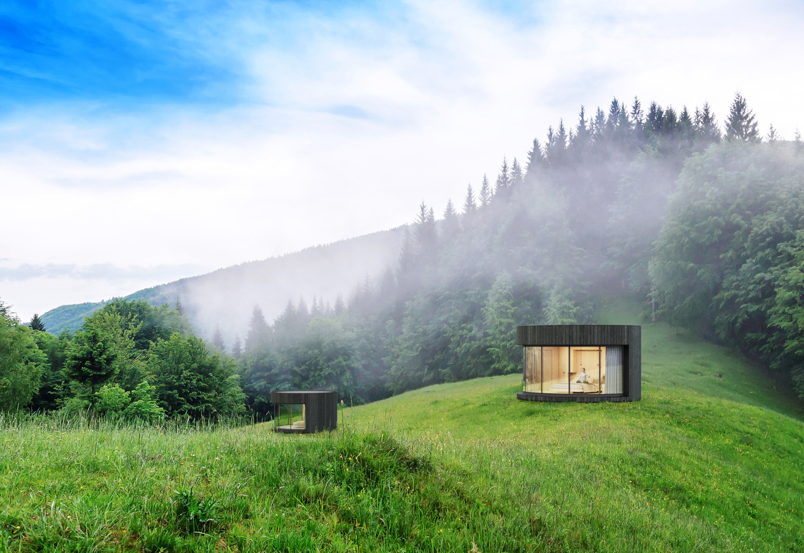Round, minimalist cabins with sliding glass walls take glamping up a notch