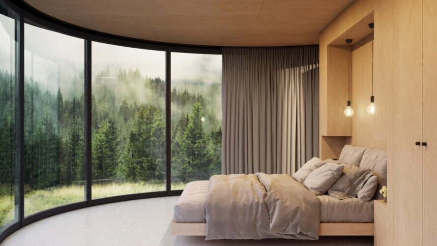 modern bedroom with curved glass facade