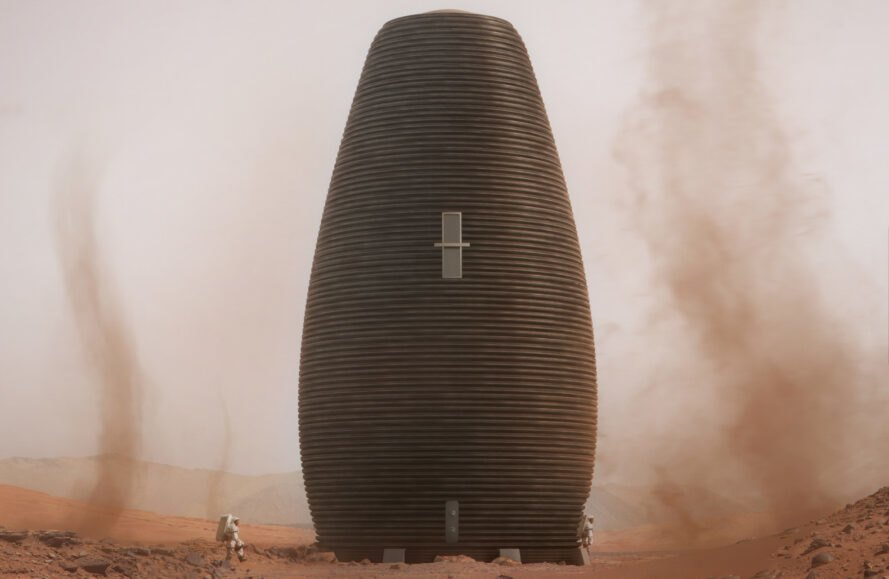 rendering of tall pod on mars
