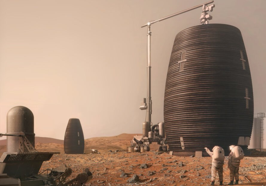 rendering of robot building a pod on mars