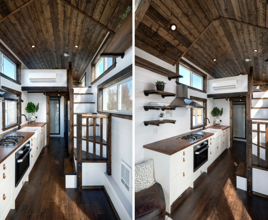 tiny home interior with all white walls and wooden flooring