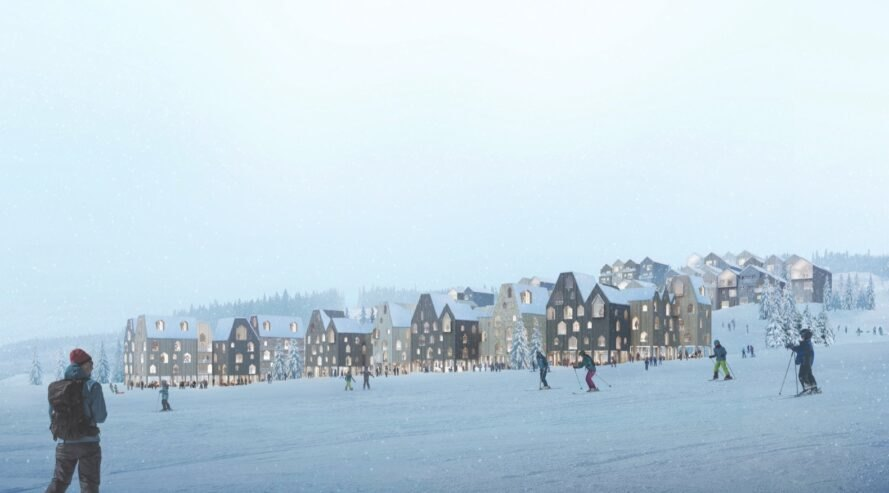 rendering of people skiing near buildings with gabled roofs