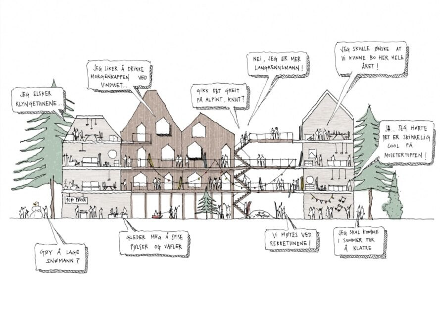 sketch of people talking in a large wood building with gabled roofs