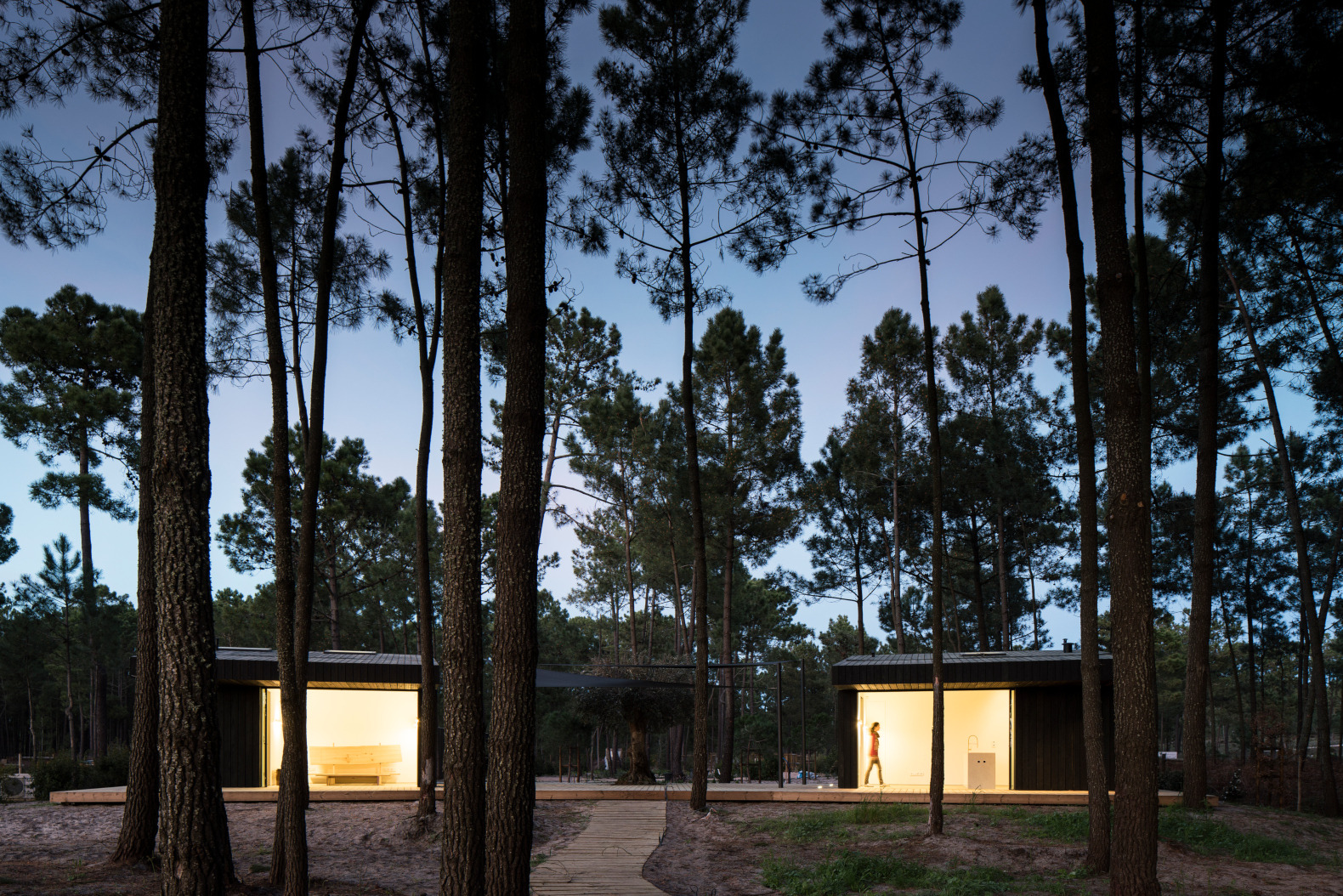 A pair of minimalist cabins is a serene retreat in a Portuguese forest