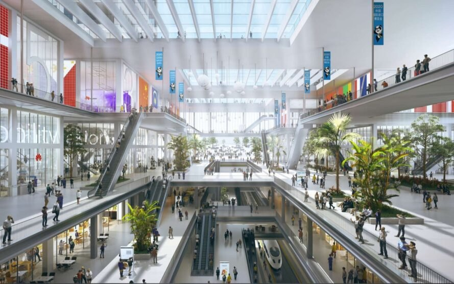 rendering of plant-filled mall