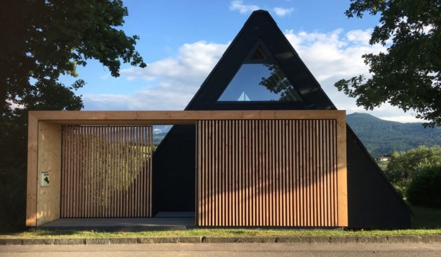 wooden slats in front of an A-frame building
