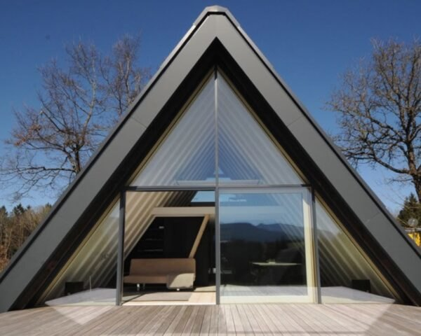 A-frame home with glass wall