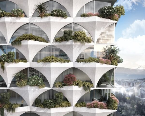 rendering of white tower with plant-filled balconies