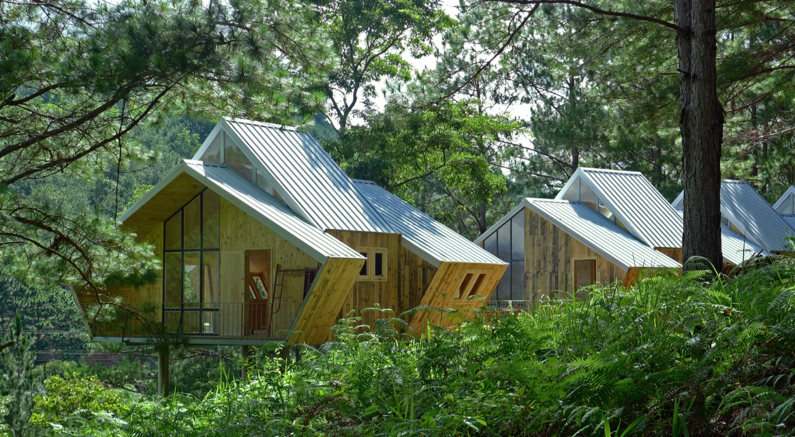 Geometric pine cabins house nature-minded workspaces in Vietnam