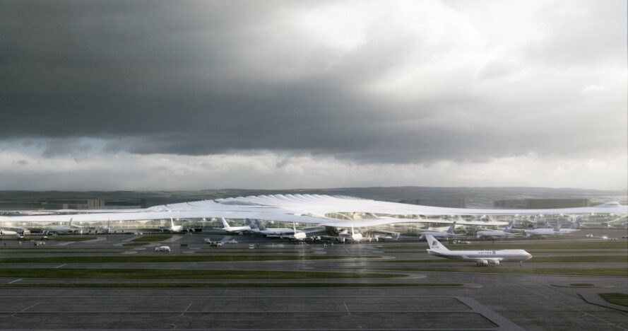 rendering of planes on ground outside airport terminal