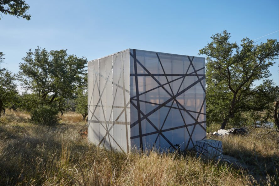 large translucent cube-like structure