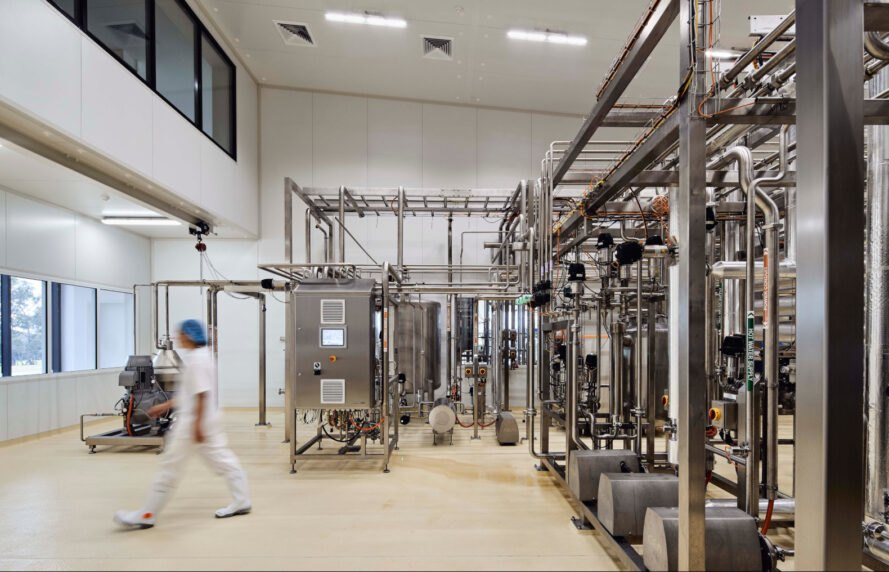 interior of dairy creamery with machines