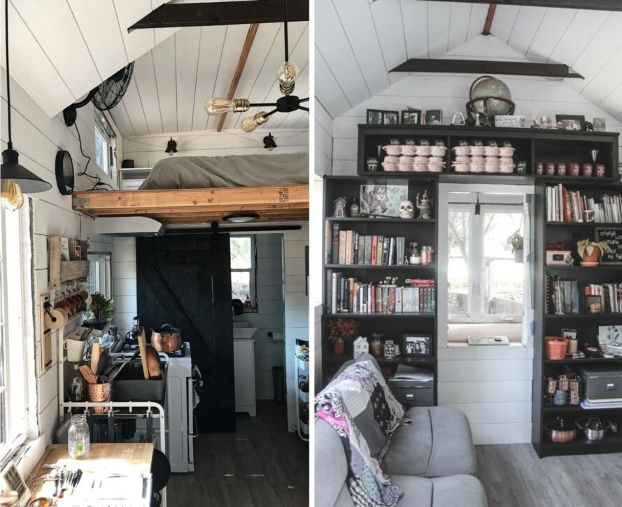 interior space of tiny home with sleeping loft