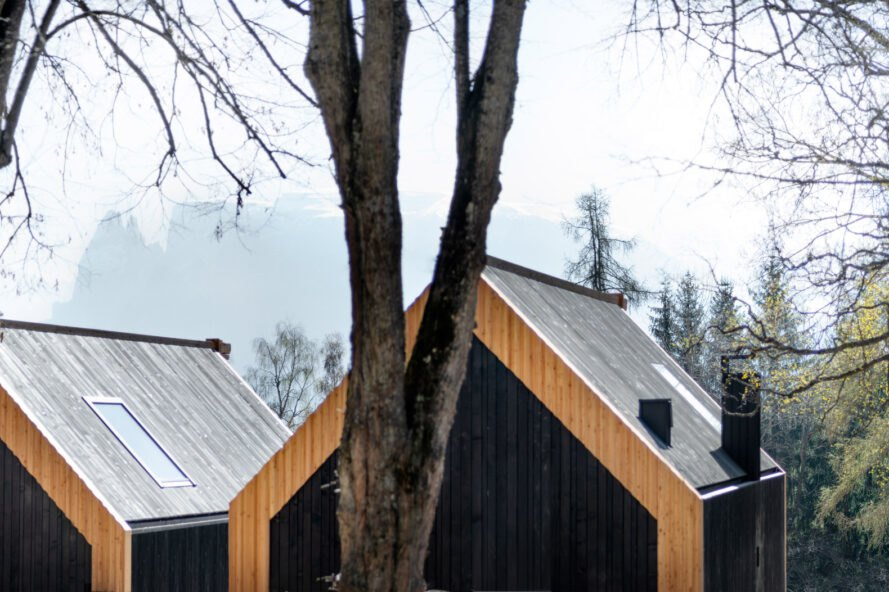 black wood cabins overlooking mountain and forest views