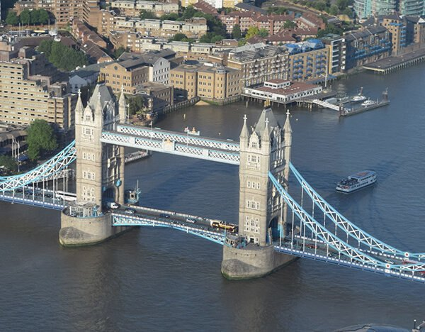 aerial view of the Thames River near the London bridge