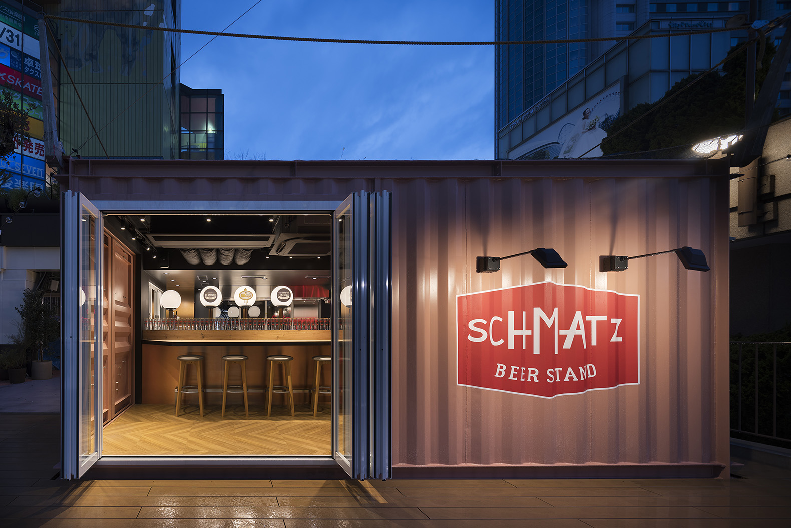 Repurposed shipping container now holds a trendy beer stand in Tokyo