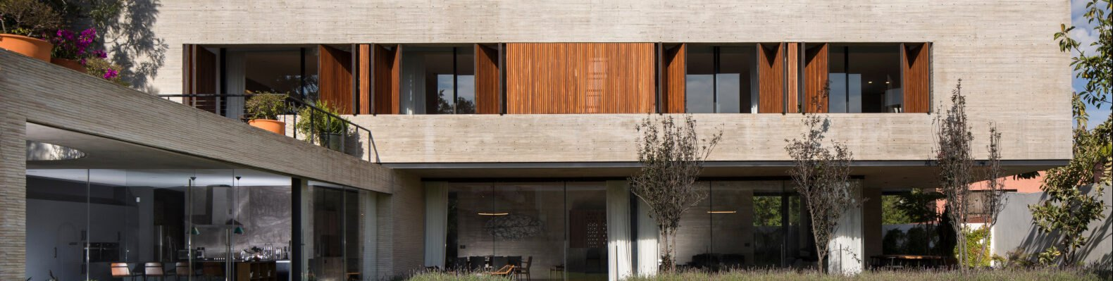 rectangular design with concrete and wood cladding