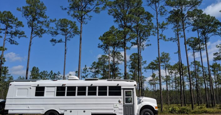 Couple converts an old school bus into a chic skoolie for travel