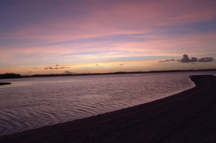 Sunset over Turtle Cove at Chagos Archipelago