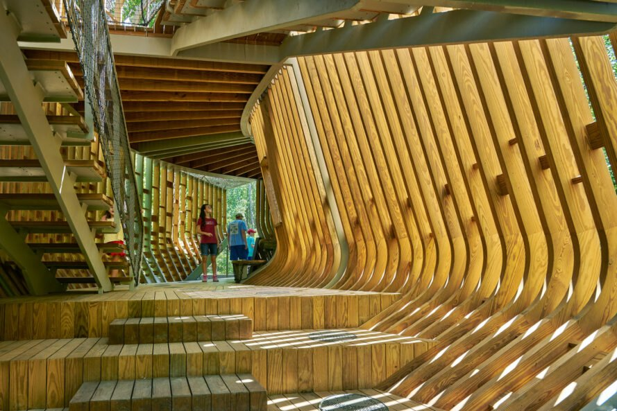 interior of elevated pin treehouse resembling a skeleton