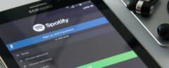 tablet logging into Spotify music account app
