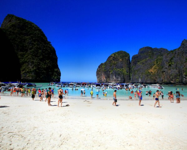 many tourists on a beach in Thailand