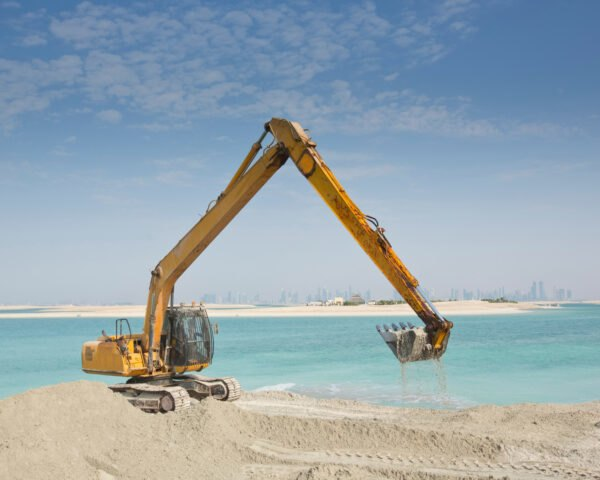 sand dredging takes place in order to build artificial island