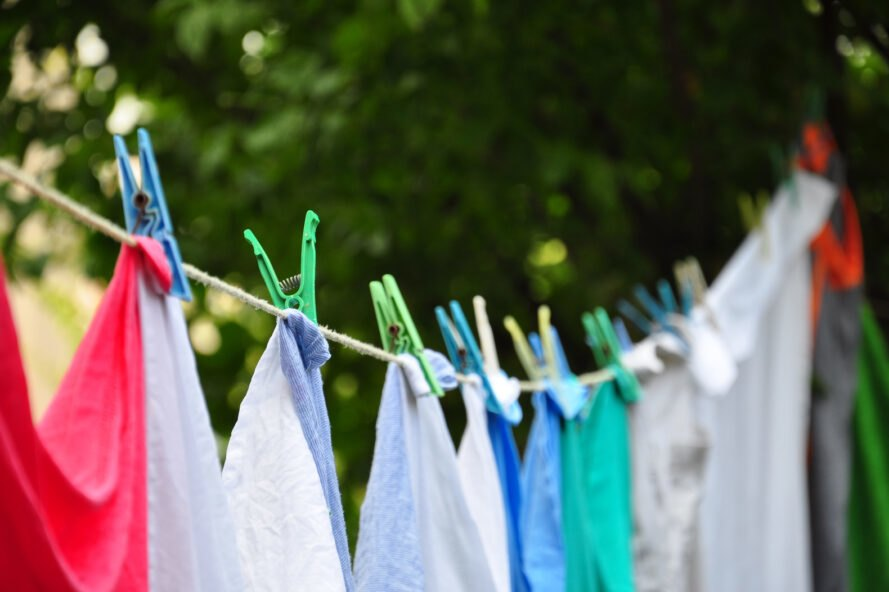 clothes hanging on a line dry