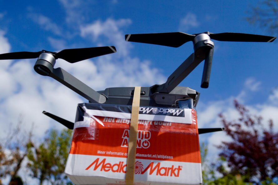 a drone delivering a package