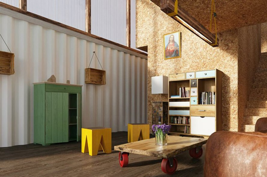 interior of modular home with wood interior and walls with bright colored furniture