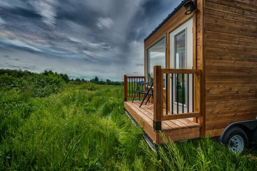 tiny wooden home with front deck