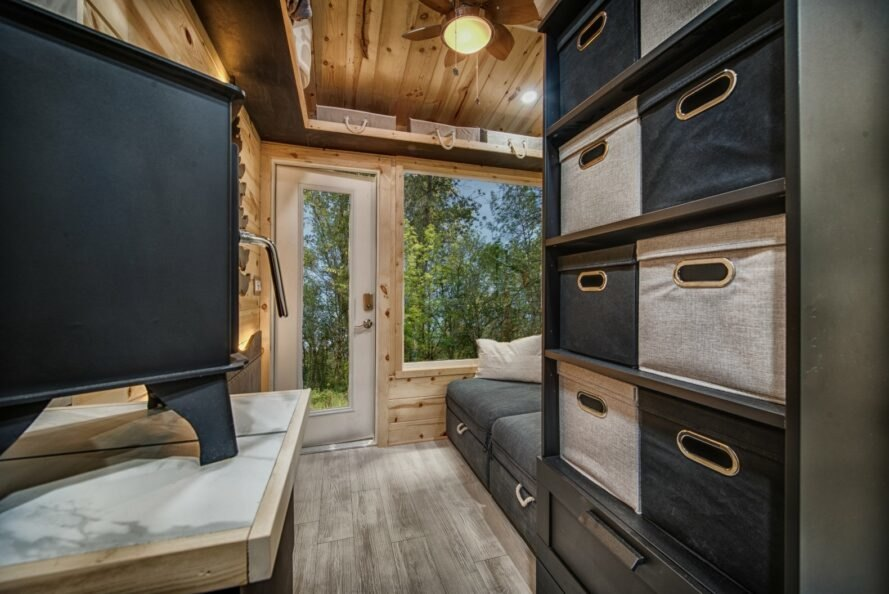 storage cubbies in tiny home