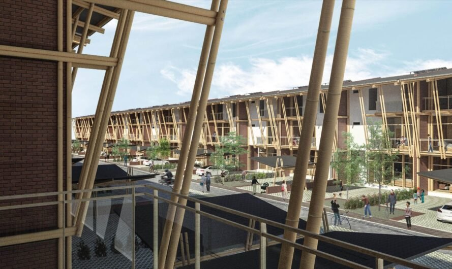 rendering of view from balcony of bamboo home