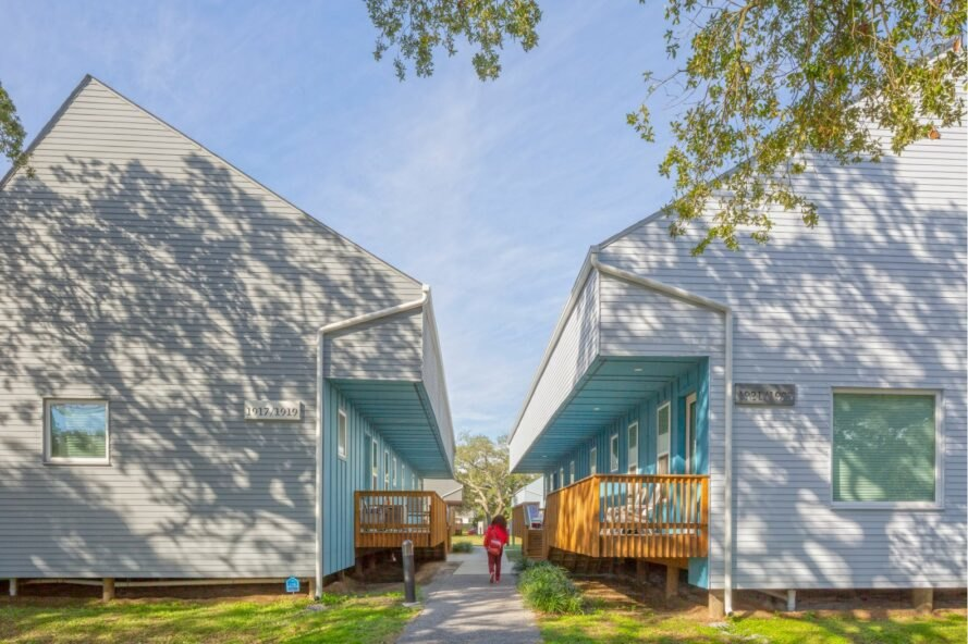 light angular homes across from one another