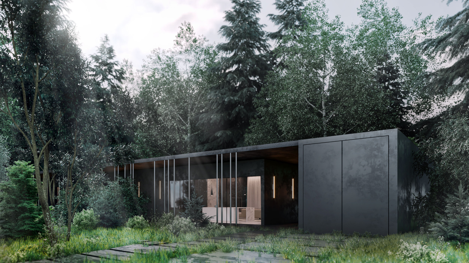 Mysterious Black Villa is to be tucked in the lush forests just outside of Moscow