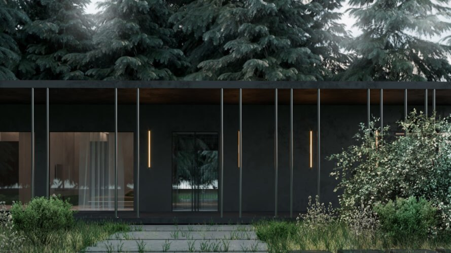 black cabin with thin columns around the front