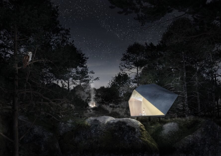 rendering of geometric glamping pod in forest at night