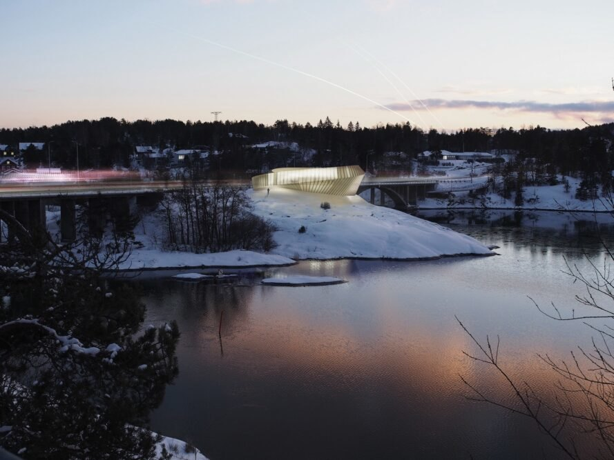 rendering of curving building atop icy hill