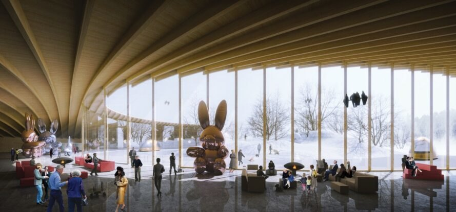 rendering of giant bunny sculptures inside curving building