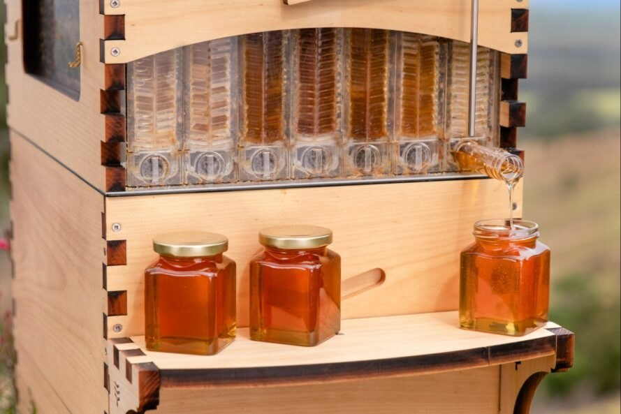 beehive with shelf of jarred honey