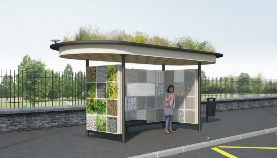 rendering of bus stop with plant-covered walls and roof